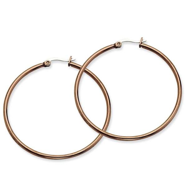 Chisel Stainless Steel Brown IP 48mm Hoop Earrings