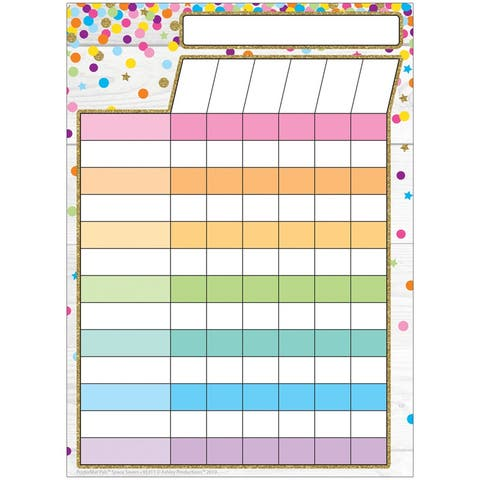 "Smart Poly® Single Sided PosterMat Pals® Space Savers, Incentive Chart Confetti Style, 13"" x 9.5"""