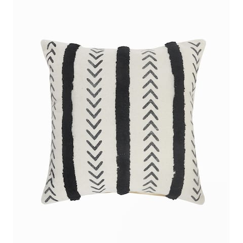 Black and Cream Tufted Striped Throw Pillow