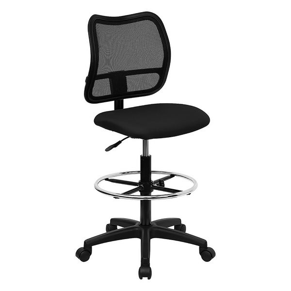 Offex Mid-Back Mesh Drafting Stool with Black Fabric Seat [OF-WL-A277-BK-D-GG]