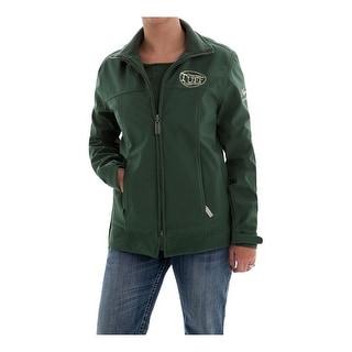 Cowgirl Tuff Western Jacket Womens Microfiber Pockets Zip Olive H00412