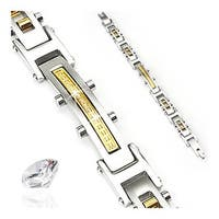 Stainless Steel Bracelet with Paved Gems and Gold IP Links (16 mm) - 8.75 in