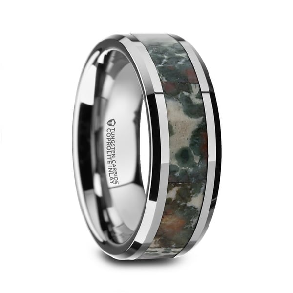 CRETACEOUS Tungsten Carbide Beveled Menx27s Wedding Band With Coprolite Fossil Inlay