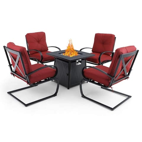 PHI VILLA Gas Fire Pit Table Set, 50000 BTU Auto-Ignition Propane Gas Fire Pit Table with 4 Spring Motion Cushion Chairs