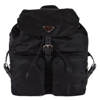 Prada Zainetto Black Tessuto Nylon Saffiano Backpack Rucksack Purse 1BZ005
