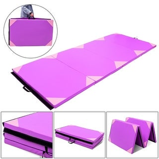 Gymax 4'x10'x2'' Gymnastics Mat Thick Folding Panel Gym Fitness Exercise Purple & Pink