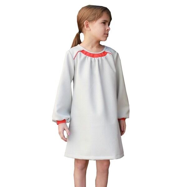 A.Bird Little Girls Grey Flat Contrast Panel Long Sleeve Gail Dress