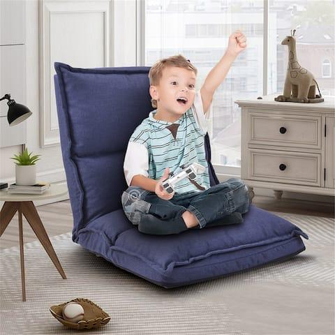 Fabric Upholstered Folding Lazy Sofa Chair Adjustable Floor Sofa Chair
