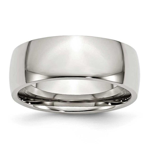 Chisel Polished Stainless Steel Ring (8.0 mm) - Sizes 6-13