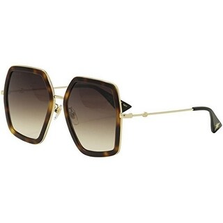 Gucci Womens Square Sunglasses, Avana/Gold/Brown, OS - avana/gold/brown