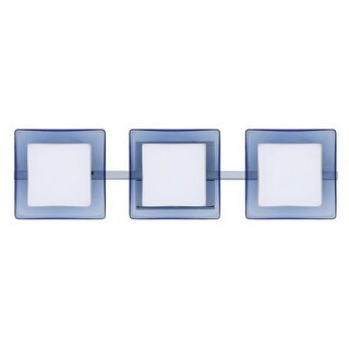 Besa Lighting 3WS-773592 Alex 3 Light ADA Compliant Halogen Bathroom Vanity Light with Opal / Blue Glass Shades