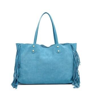 Sam Edelman Payton Womens Bag in Bag Fringe Suede Tote Malibu Blue