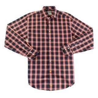 Thomas Dean NEW Red Blue Mens Size Small S Plaid Button Down Shirt