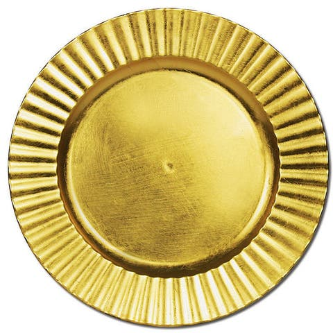 "Palais Dinnerware 'Plaque De Charge' Collection - 13"" Elegent Charger Plate (4, Gold Flower)"