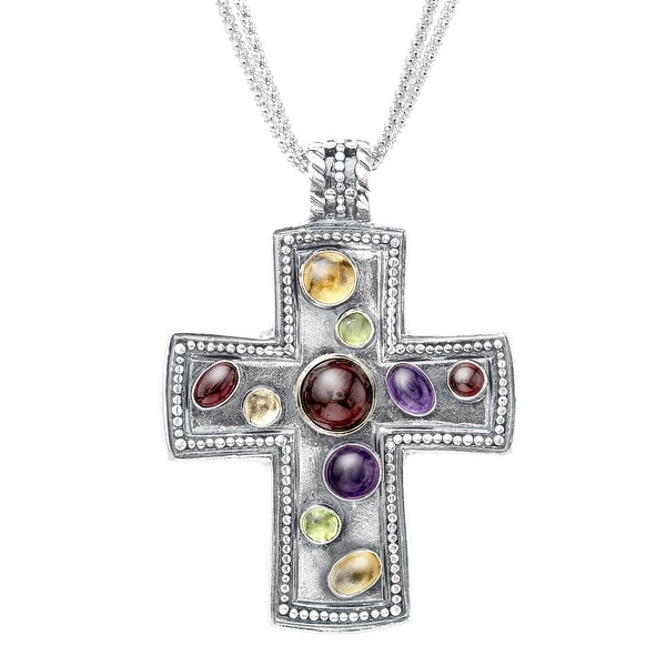 Multi-Stone Cross Pendant in Sterling Silver - Red