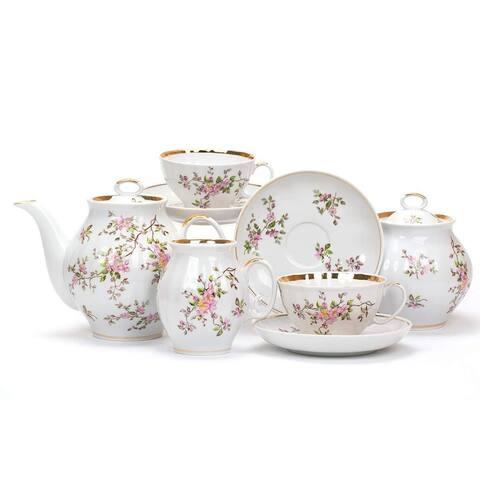 Dulevo Porcelain Blossoms Gold Rim 15 pc. Fine China Tea Set for 6