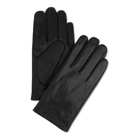 Calvin Klein Mens Leather Gloves Fleece Lined Touchscreen