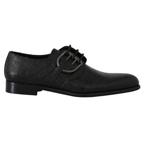 Dolce & Gabbana Black Leather Buckle Laceups Derby Men's Shoes