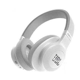 JBL E55BT Over-Ear Wireless Headphones with Microphone and Music Controls - White
