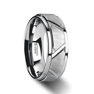 THORSTEN - VESTIGE Tungsten Ring with Triangle Angle Grooves and Raised Center
