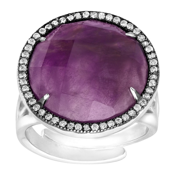 Natural Amethyst & Cubic Zirconia Ring in Sterling Silver