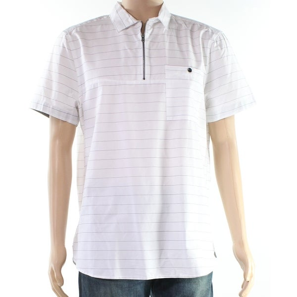 1a799d5c Shop Kenneth Cole Reaction Mens Large Striped Zip Polo Shirt - Free Shipping  On Orders Over $45 - Overstock - 28237835