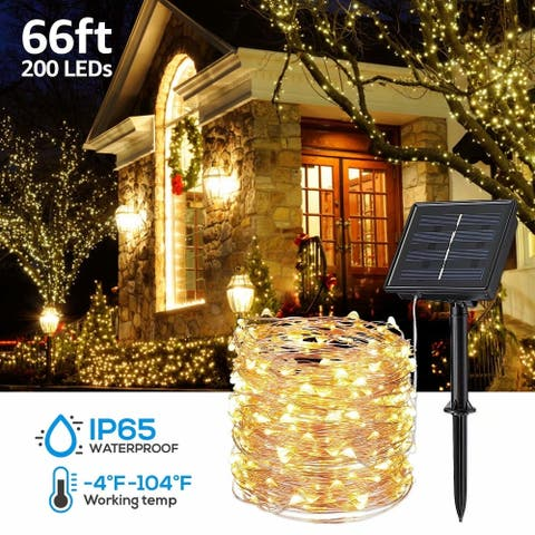Christmas 66ft 200 LED Outdoor Solar String Lights for Bushes, IP65 Waterproof, Warm White, 4 Pack