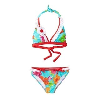 Azul Little Girls Red Turquoise Floral Totes Cute 2 Pc Bikini Swimsuit