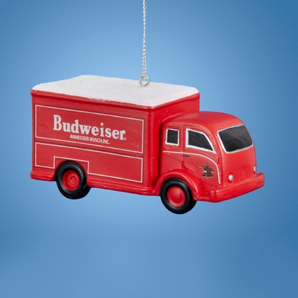 "1.75"" Budweiser® Red Beer Delivery Truck Decorative Christmas Ornament"