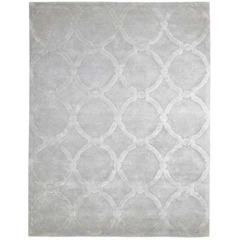 """One of a Kind Hand-Tufted Modern & Contemporary 8' x 10' Geometric Wool Grey Rug - 7'5""""x9'7"""""""