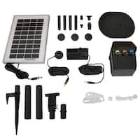 Sunnydaze Solar Pump and Panel Kit with Battery Pack and LED  - 79 GPH