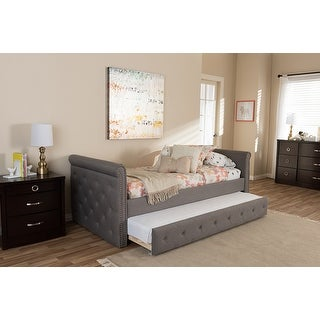 Contemporary Swamson Grey Fabric Tufted Twin Size Daybed with Roll-out Trundle Guest Bed