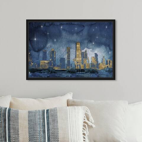 Oliver Gal 'Chicago Nighttime' Cities and Skylines Wall Art Framed Canvas Print United States Cities - Blue, Gold