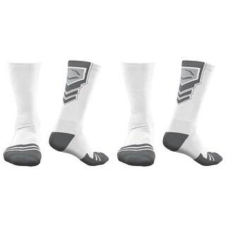 EvoShield Performance Crew Socks (White w/ Gray / Medium / 2 Pair)
