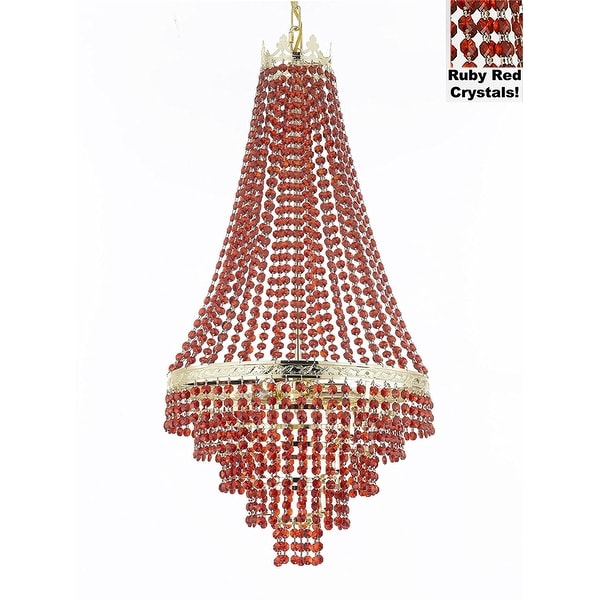 French Empire Crystal Chandelier Moroccan Style Lighting Dressed With All Ruby Red