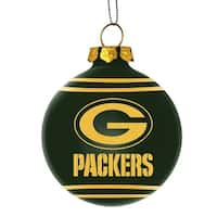 Green Bay Packers Glitter Logo Glass Ball Ornament, Green