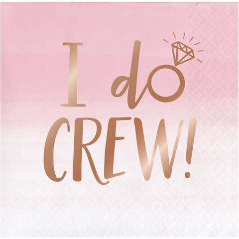"""Club Pack of 192 Pink and Brown """"I do CREW!"""" 3-Ply Beverage Napkins 10"""" - N/A"""