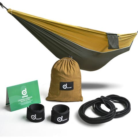 "Camping Hammock Outdoor Equipment for Backpacking w/Travel Straps & Steel Carabiners - 7'10"" x 9'11"""
