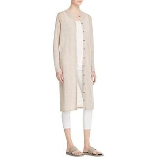 Eileen Fisher Womens Cardigan Sweater Heathered Sheer