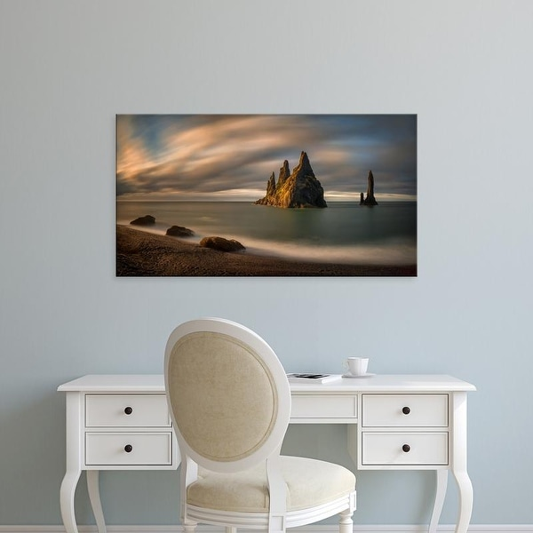 Easy Art Prints Panoramic Images's 'Rock formations in the sea, Reynisfjara Beach, Iceland' Premium Canvas Art
