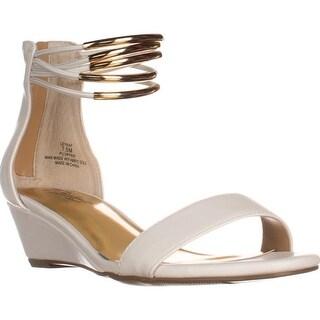 TS35 Leyna Ankle-Cuff Wedge Dress Sandals, White