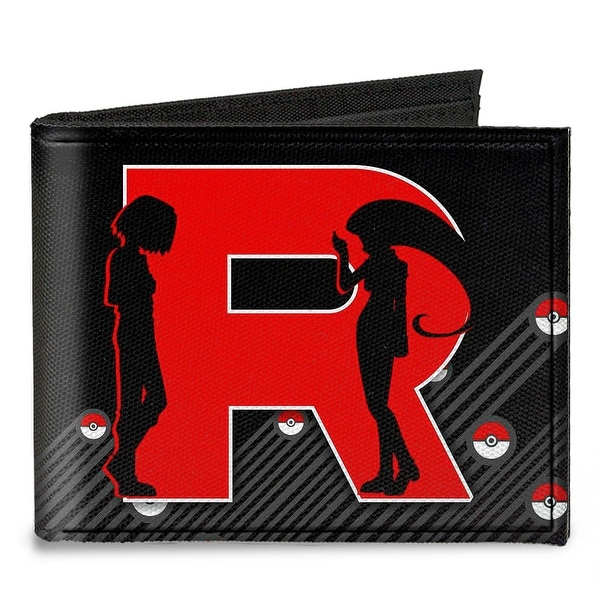 "Team Rocket ""R"" James & Jessie Silhouette + Team Rocket Meowth Black Grays Canvas Bi-Fold Wallet One Size - One Size Fits most"