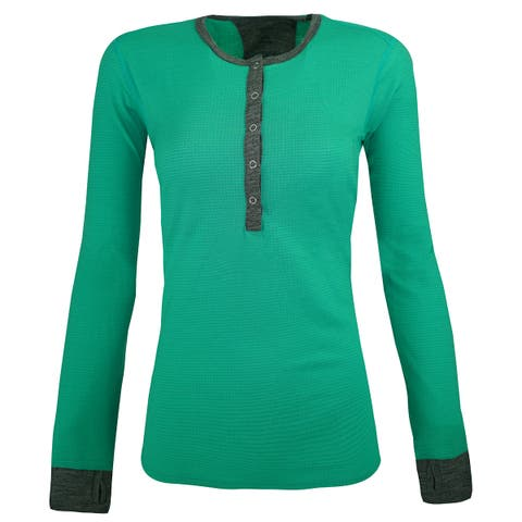 Icebreaker Women's Terra L/S Henley Shirt - Patina/Gritstone Heather