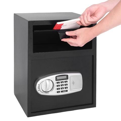 Home Office Large Digital Keypad Depository Drop Safe Box - Black - black