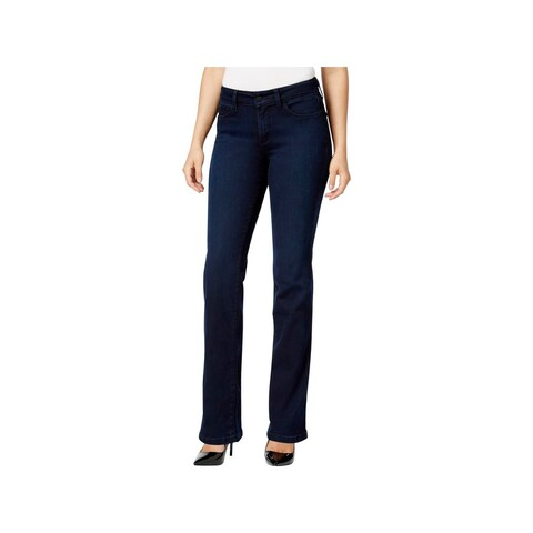NYDJ Womens Marilyn Straight Leg Jeans Dark Mid-Rise