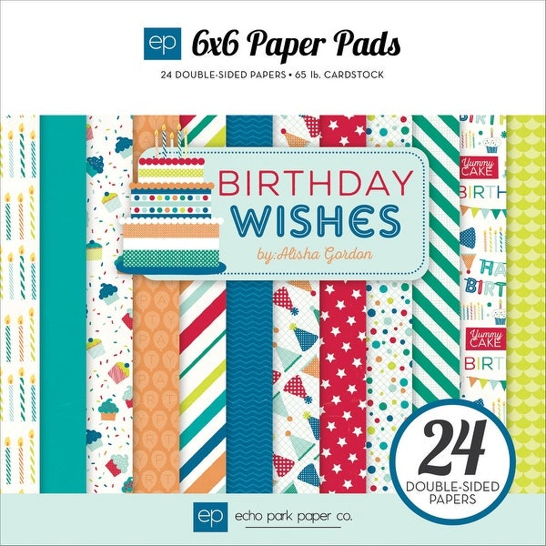 "Echo Park Double-Sided Paper Pad 6""X6"" 24/Pkg-Birthday Wishes Boy"