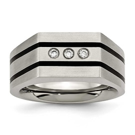 Chisel Titanium Brushed Black IP-plated CZs Ring