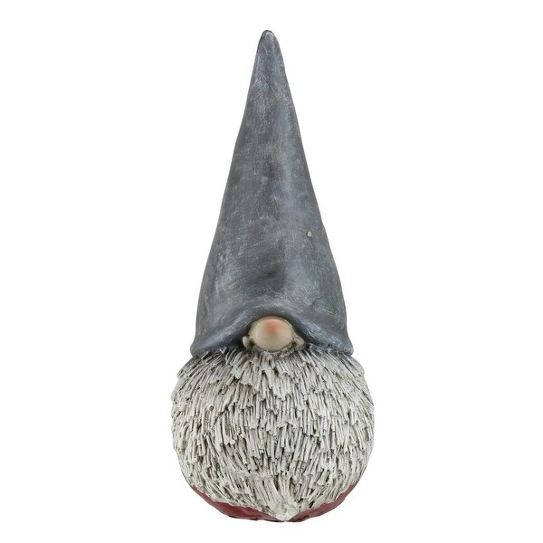 """12"""" Gray and Red Chubby Christmas Gnome Figure with Tall Hat"""