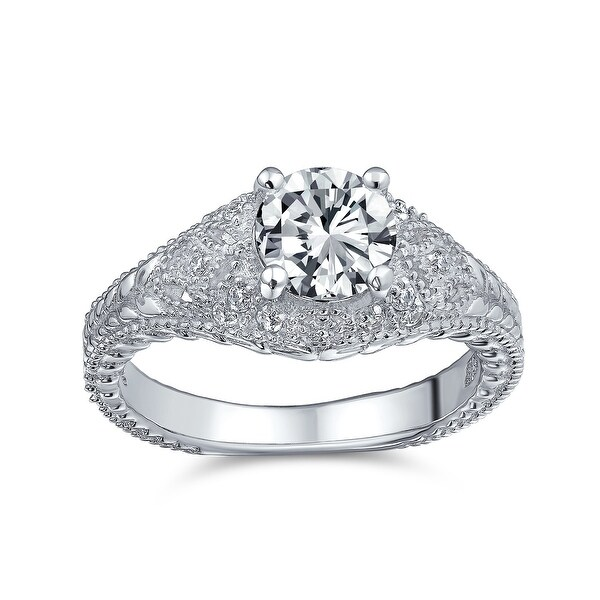 Solitaire Crown Mount Filigree CZ Engagement Ring 925 Sterling Silver. Opens flyout.