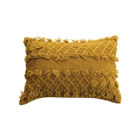 Gold Cotton Embroidered Lumbar Pillow with Embroidery and Fringe